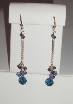 Blu Crystal Cluster Earrings