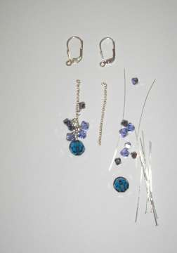 Blue Crystal Cluster Earrings