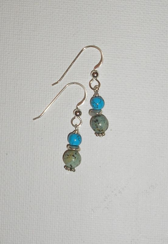 Blue Green Turquoise Earrings