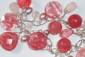 Photo of bracelet made with faceted cherry quartz beads