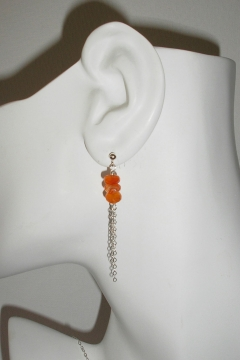 Carnelian and Chain Earrings