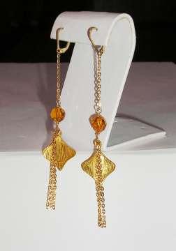 Gold Fan Earrings Earrings
