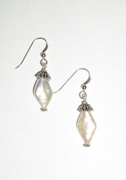 Diamond Shaped Pearl Earrings