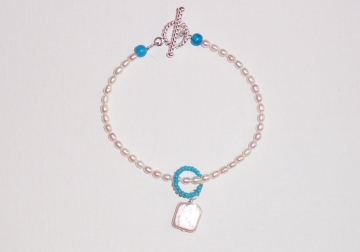 Seed Pearl and Turquoise Bracelet