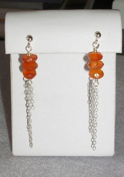 Carnelian and Chain Earrings