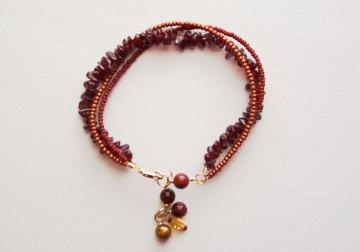 Garnet and Seed Bead Bracelet
