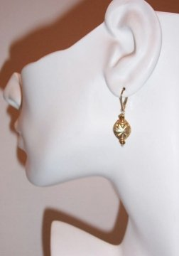 Gold Bead and Tourmaline Earrings