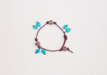 Leather and Silver Bracelet with Turquoise Charms