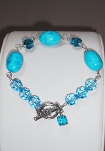 Turquoise and Crystal Bead Bracelet
