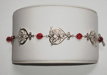Red Crystal Filigree Bracelet