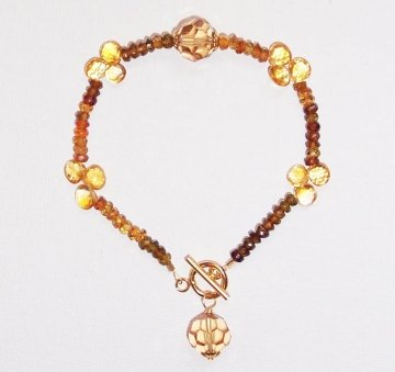 Tourmaline Citrine and Crystal Bracelet
